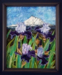 Irises and Mountain Landscape